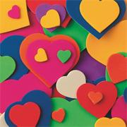 Color Splash! Foam Shapes w/ Adhesive - Hearts, 500 pcs.