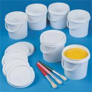 Paint Containers w/ Lids  5&quot;x4-1/2&quot; (pack of 6)