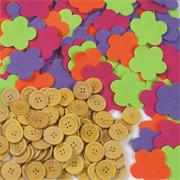 Felt Flowers and Wood Buttons (pack of 400)