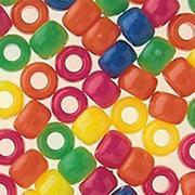 Plastic Pony Beads, 9mm - Neon (bag of 1600)
