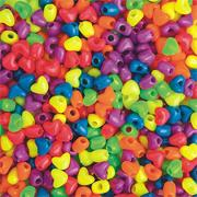 Neon Heart Pony Beads, 1-lb, 12mm (bag of 950)