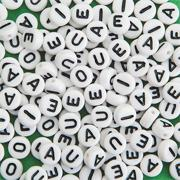 Plastic Vowel Beads (bag of 144)