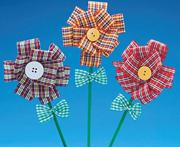 Fabric Button Flowers Craft Kit (makes 12)