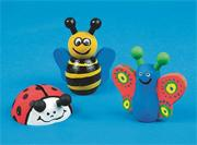 Wooden Bee, Butterfly and Ladybug Craft Kit (makes 12)