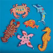 Wood Sealife Magnets Craft Kit (makes 12)