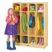 Coat Locker, 4 Sections, 39&quot;x15&quot;x50-1/2&quot;