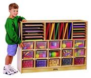Sectional Mobile Cubbie with 15 Color Trays