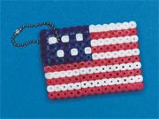 American Flag Fuse Bead Key Chain Craft Kit (makes 12)