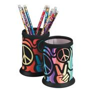 Peace Sign Velvet Art Pencil Holder Craft Kit (makes 12)