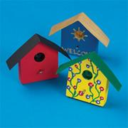 Unfinished Birdhouse Mini Magnet Craft Kit, Unassembled (makes 12)