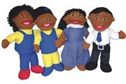 """Full-Bodied"" Open Mouth Puppets African American (set of 4)"
