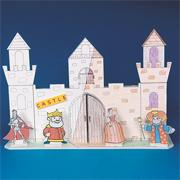 Building Facade Play Set, 3 Castles, 12 Characters