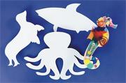 Precut Cardboard Shapes Large - Sea Animals  (pack of 24)