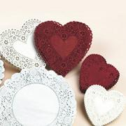 "Heart-Shaped Paper Lace Doilies, 6"", White (pack of 100)"