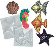 Plastic Mold Set - Sealife   (set of 6)