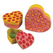 Paper Mache Heart Boxes  (set of 3)