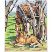 Horse and Foal Pencil-by-Number
