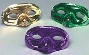Mardi Gras Half Mask - Metallic  (pack of 24)