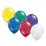 "11"" Stars Around Balloons , Assorted (bag of 100)"