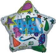 "18"" Foil Happy Birthday Balloon - 'Stars with Hats'  (pack of 10)"