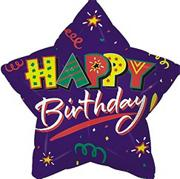 "18"" Foil Happy Birthday Balloon - Star Shape  (pack of 10)"