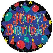 18&quot; Foil Happy Birthday Balloon - Blue  (pack of 10)
