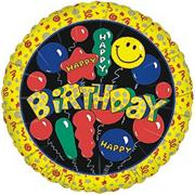 "18"" Foil Happy Birthday Balloon - Smiley Face  (pack of 10)"