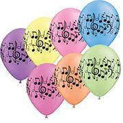 Music Note Balloons, Neon  (pack of 100)
