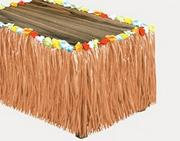 "Luau Table Skirt, 9'x32"" - Flower Raffia"