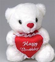 6-1/2&quot; Plush Heartfelt &#039;Happy Birthday&#039; Bears.  (pack of 6)