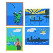 Sand Art Boards 5&quot;x7&quot; - Gone Fish&#039;n  (pack of 12)