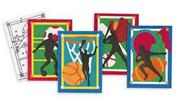 Sand Art Boards 5&quot;x7&quot; - Sports  (pack of 12)