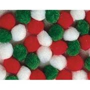Pom Poms, 1&quot; - Holiday Colors (pack of 50)