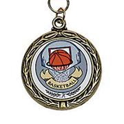 Basketball Award Medals with Neck Ribbons  (pack of 6)