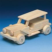 Unfinished Wood Jeep Kit, Unassembled