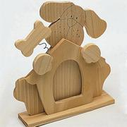Unfinished Wooden Character Frame - Dog w/Bone