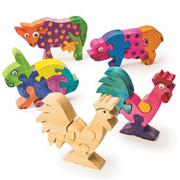 Unfinished Wooden Animal Puzzles - Farm Animals, Unassembled (pack of 12)