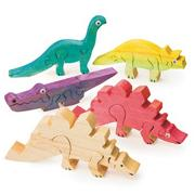 Unfinished Wooden Animal Puzzle - Dinosaurs, Unassembled (pack of 12)