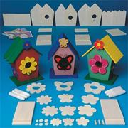 Unfinished D-I-Y Wood Flower/Butterfly Houses Craft Kit (set of 3)
