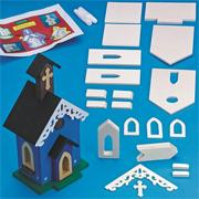 Unfinished D-I-Y Trimmed Birdhouse Church Craft Kit