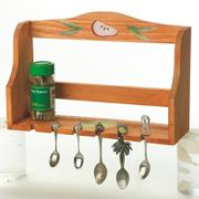 Unfinished Wood Spice and Spoon Rack